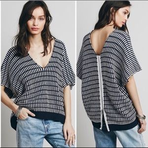 Free People Something Special Poncho Sweater Navy